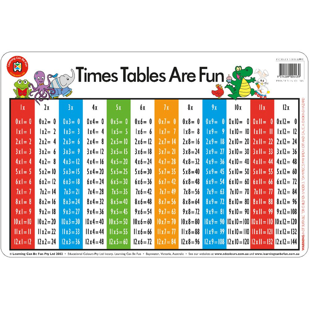 Placemat times tables by learning can be fun for in posters charts placemats - Multiplication tables 2 to 15 ...